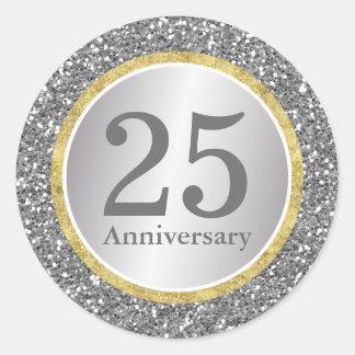 25th Wedding Anniversary Modern Silver & Gold Round Sticker