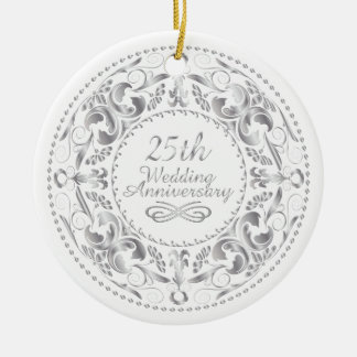 25th Wedding Anniversary  - Ornament