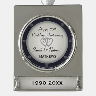 25th Wedding Anniversary Ornament Silver Plated Banner Ornament