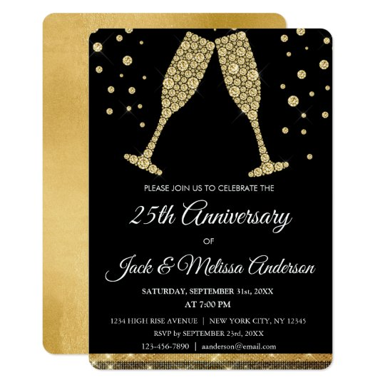 25th Wedding Anniversary Party Champagne Glasses Card