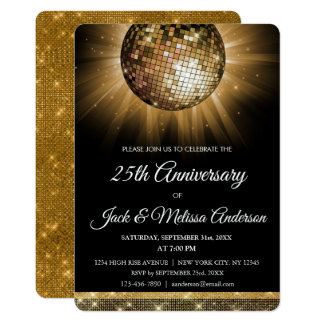 25th Wedding Anniversary Party Gold Disco Ball Card