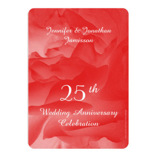 25th Wedding Anniversary Party Invitation, Rose 13 Cm X 18 Cm Invitation Card