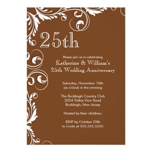 25th Wedding Anniversary Party Invitations 5 X 7 Invitation Card