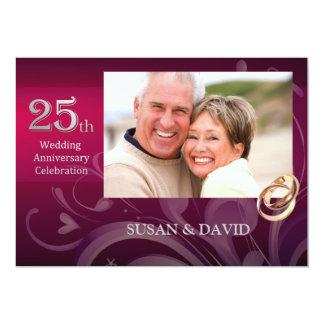 "25th Wedding Anniversary Party Invitations 5"" X 7"" Invitation Card"
