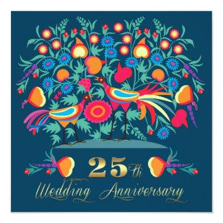 """25th Wedding Anniversary Party Invitations 5.25"""" Square Invitation Card"""