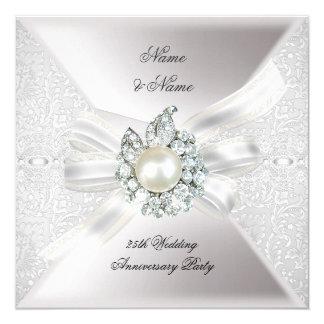 25th Wedding Anniversary Party Lace Pearl White 13 Cm X 13 Cm Square Invitation Card