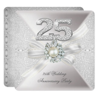 25th Wedding Anniversary Party Pearl Silver Card