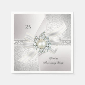 25th Wedding Anniversary Party Pearl White Silver Disposable Napkin