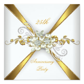 25th Wedding Anniversary Pearl Gold Silver Card