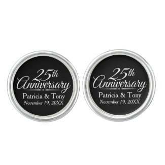 25th Wedding Anniversary Cufflinks