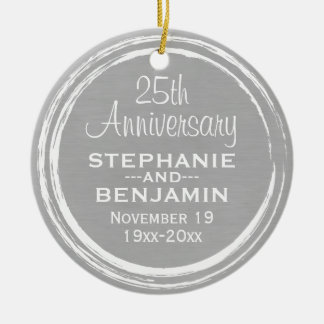 25th Wedding Anniversary Personalized Christmas Ornament