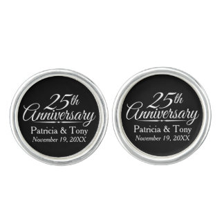 25th Wedding Anniversary Personalized Cuff Links