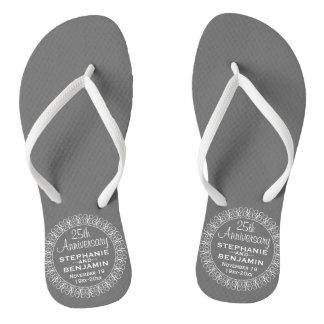 25th Wedding Anniversary Personalized Flip Flops