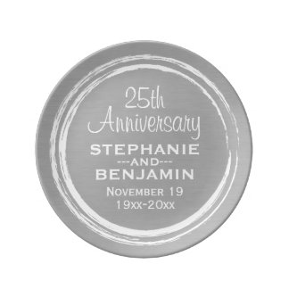 25th Wedding Anniversary Personalized Porcelain Plate
