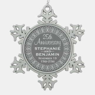 25th Wedding Anniversary Personalized Snowflake Pewter Christmas Ornament