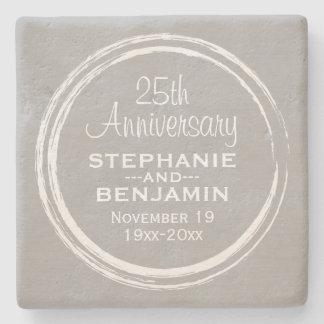 25th Wedding Anniversary Personalized Stone Beverage Coaster
