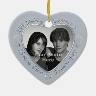 25th Wedding Anniversary Photo Ceramic Heart Decoration