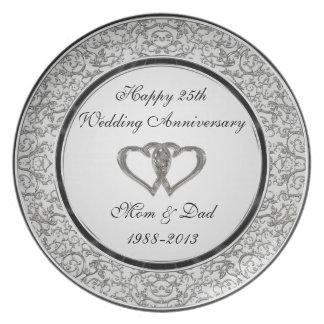 25th Wedding Anniversary Plate