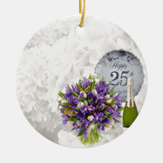 25th Wedding Anniversary Round Ceramic Decoration