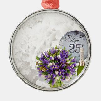 25th Wedding Anniversary Silver-Colored Round Decoration