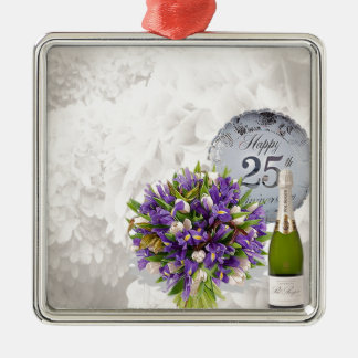 25th Wedding Anniversary Silver-Colored Square Decoration