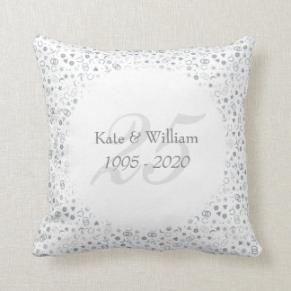 25th Wedding Anniversary Silver Confetti Cushion