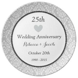 25th Wedding Anniversary Silver Damask W25E Porcelain Plate