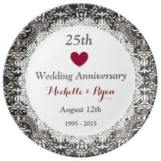 25th Wedding Anniversary Silver Gray Damask A03 Porcelain Plate