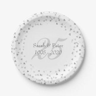 25th Wedding Anniversary Silver Hearts Confetti 7 Inch Paper Plate