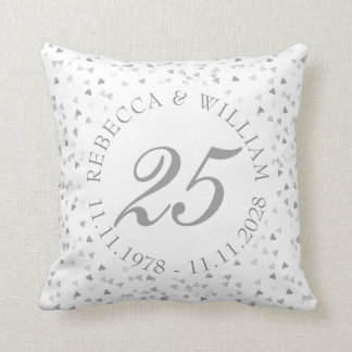 25th Wedding Anniversary Silver Hearts Confetti Throw Pillow
