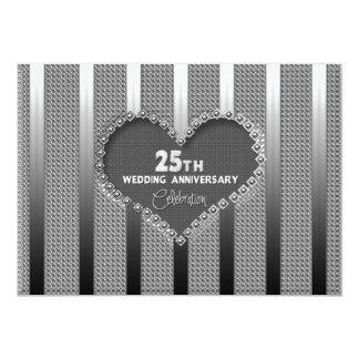 """25th Wedding Anniversary (Silver) Invitation/Heart 5"""" X 7"""" Invitation Card"""