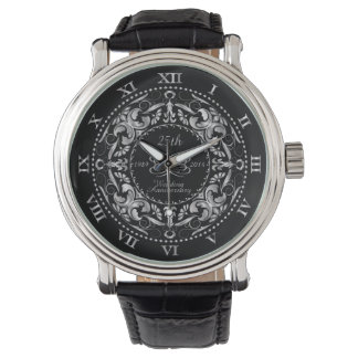 25th Wedding Anniversary  Silver Ornate - Watch