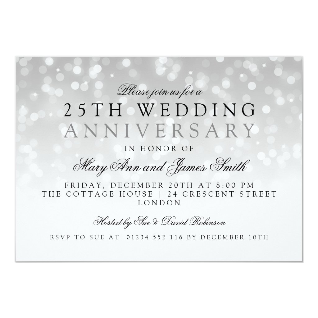 25th Wedding Anniversary Silver Sparkle Lights Card
