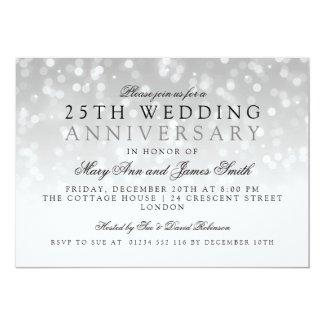 25th Wedding Anniversary Silver Sparkle Lights Card