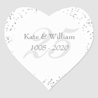 25th Wedding Anniversary Silver Stardust Confetti Heart Sticker