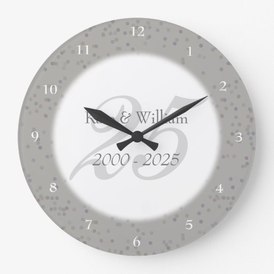25th Wedding Anniversary Silver Stardust Confetti Large Clock