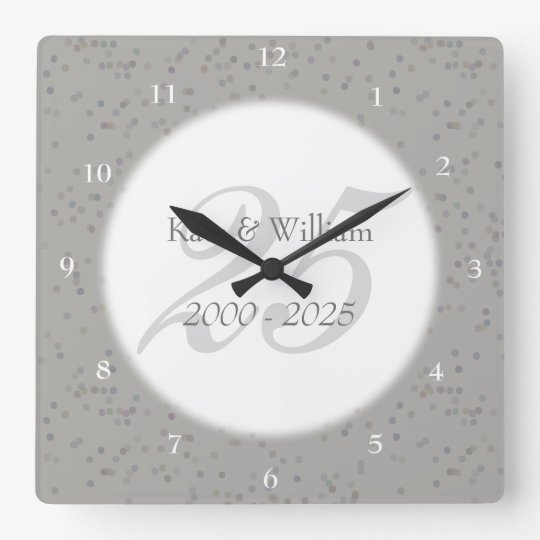 25th Wedding Anniversary Silver Stardust Confetti Square Wall Clock
