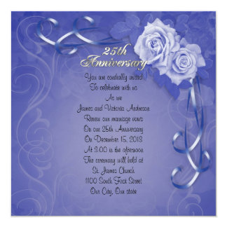 25th Wedding anniversary vow renewal blue roses 13 Cm X 13 Cm Square Invitation Card