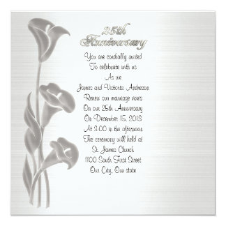 25th Wedding anniversary vow renewal calla lilies Card