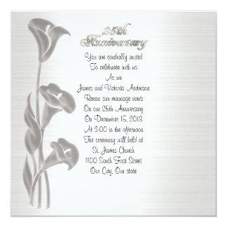 "25th Wedding anniversary vow renewal calla lilies 5.25"" Square Invitation Card"