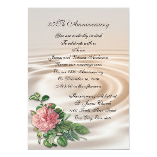 25th Wedding anniversary vow renewal Pink rose 13 Cm X 18 Cm Invitation Card
