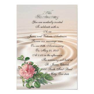 25th Wedding anniversary vow renewal vintage rose 13 Cm X 18 Cm Invitation Card