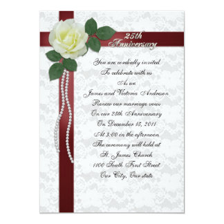 25th Wedding anniversary vow renewal White rose 13 Cm X 18 Cm Invitation Card