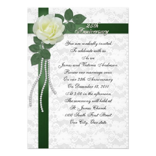 25th Wedding anniversary vow renewal White rose Invitation