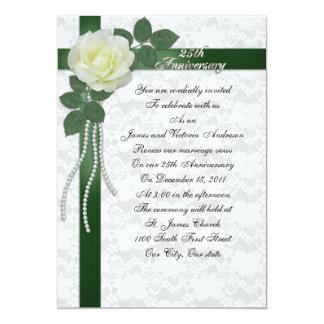 25th Wedding anniversary vow renewal White rose 13 Cm X 18 Cm Invitation Card