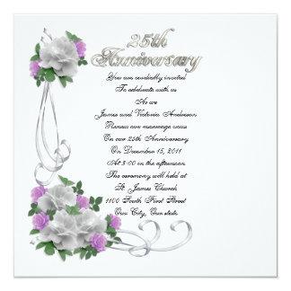 25th Wedding anniversary vow renewal White roses 13 Cm X 13 Cm Square Invitation Card