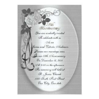 25th Wedding anniversary vow renewal White roses 13 Cm X 18 Cm Invitation Card