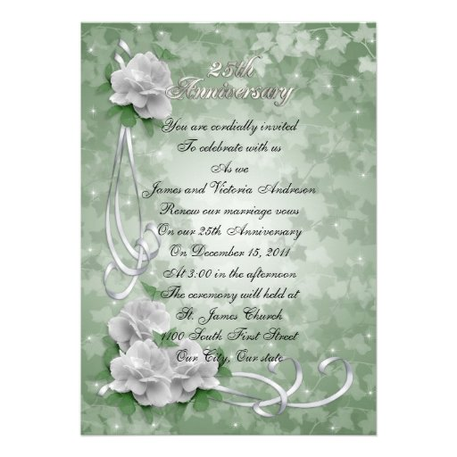 25th Wedding anniversary vow renewal White roses Personalized Announcements