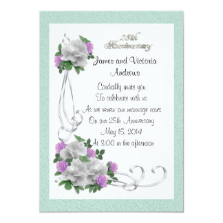 25th Wedding anniversary vow renewal White roses 13 Cm X 18 Cm Invitation Card