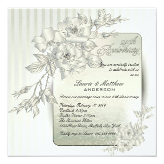 25th Wedding Anniversary Vow Renewal White Roses Invitation